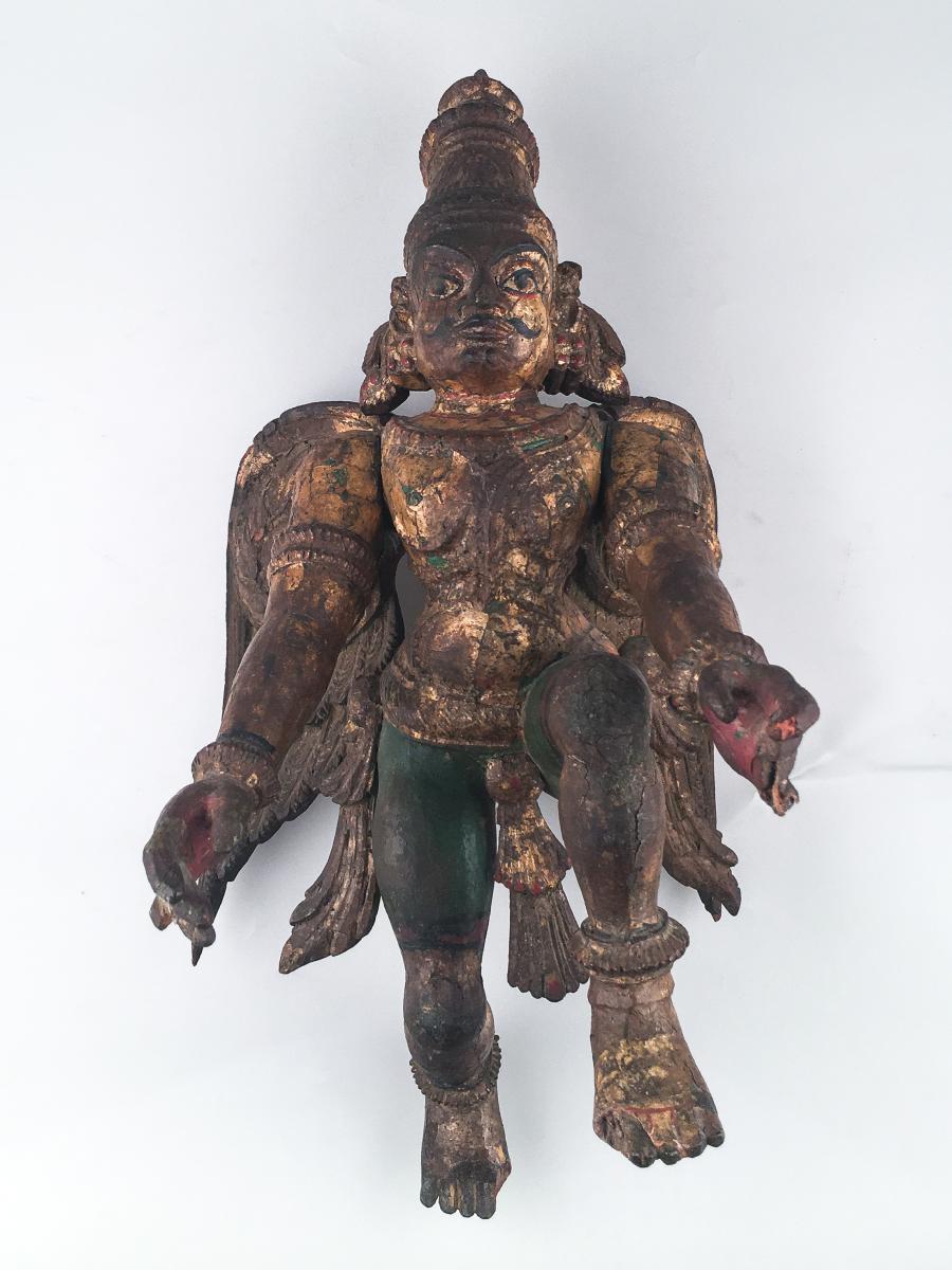 Garuda Carved Polychrome Wood - India, 18th-19th Centuries
