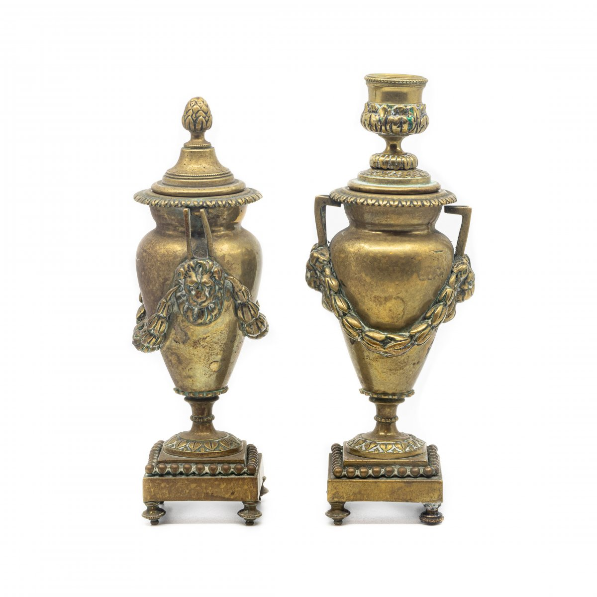 Pair Of Candlesticks Brass Double Function - 18th Century