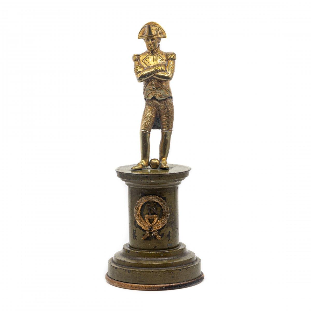 Napoleon Golden Brass Statuette - France, Mid 19th Century