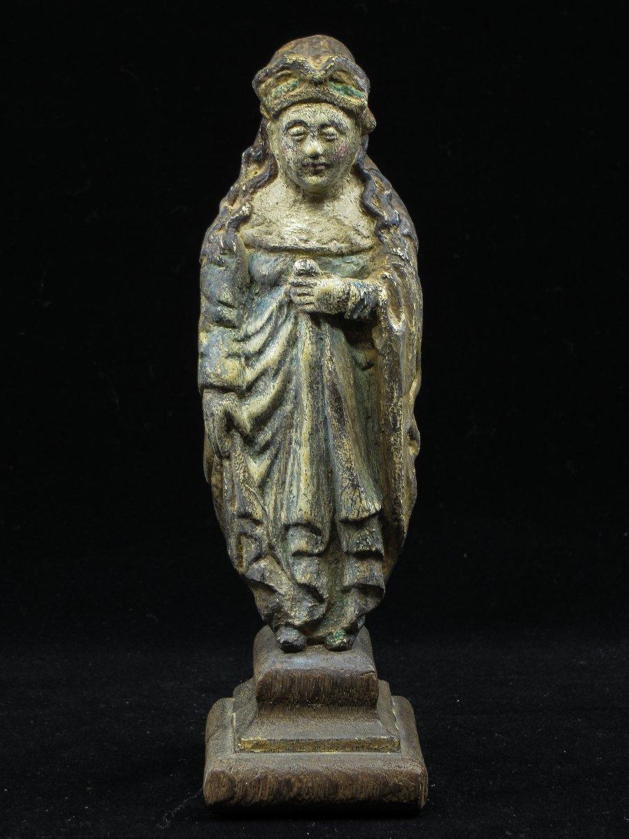 Polychrome Wood Sculpture (woman) - Mosane Region (liège), 16th Century