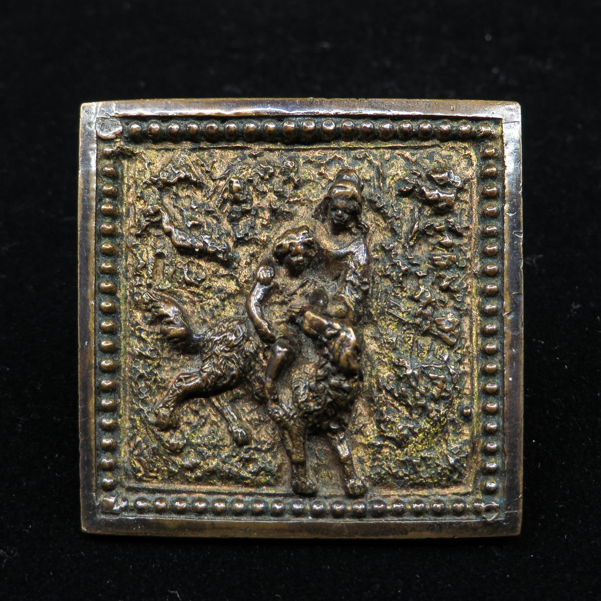 Small Bronze - Woman, Child And Dog In A Wooded Landscape
