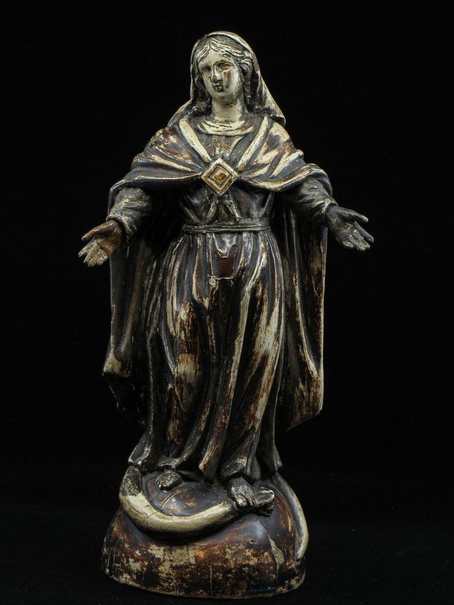 Virgin In Polychrome Wood - 18th Century