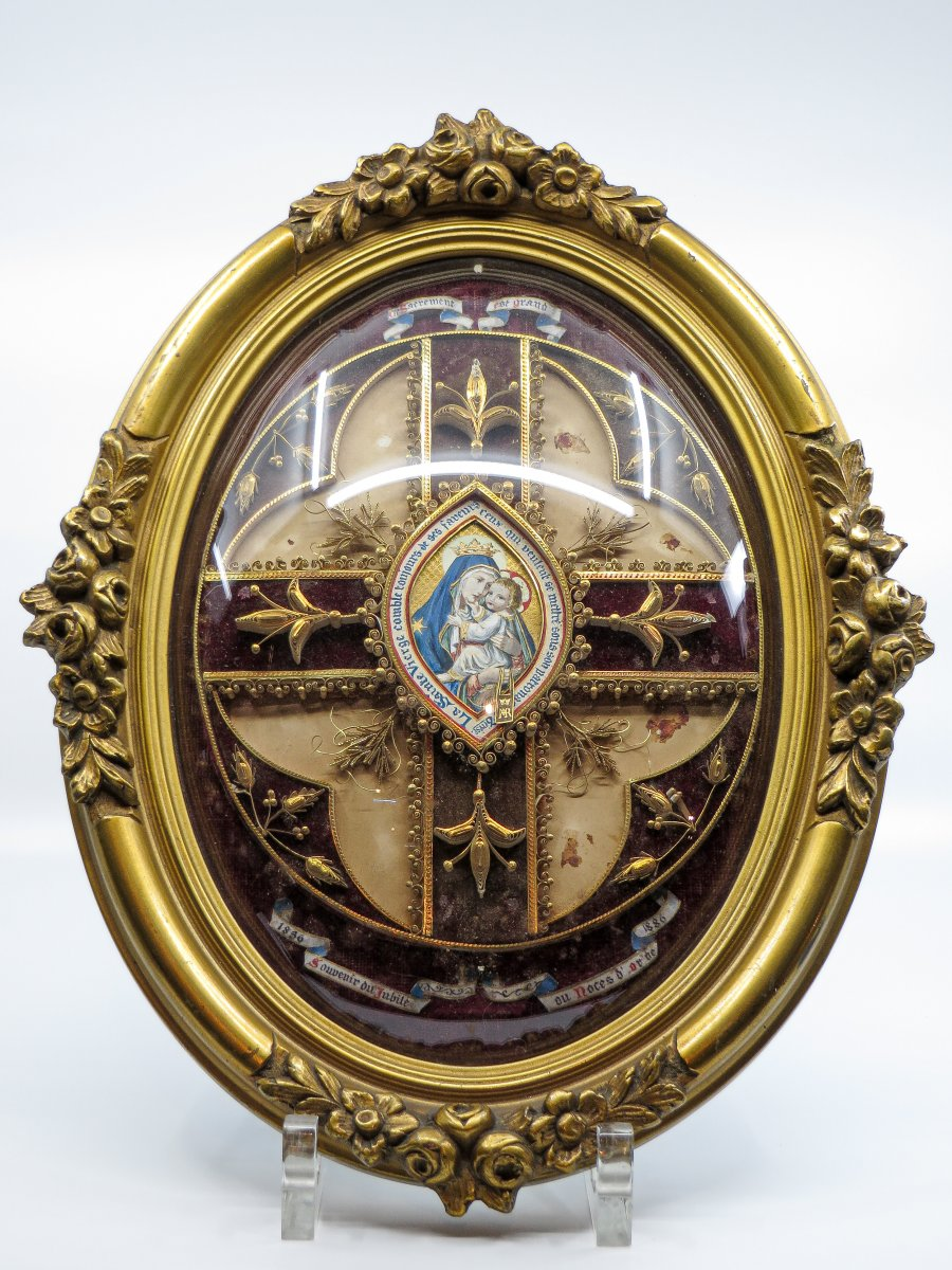 Reliquary With Central Miniature - Dated 1836-1886