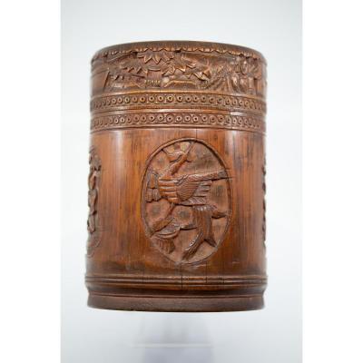 Boîte Cylindrique Avec Son Couvercle - Chine, 19e Siècle