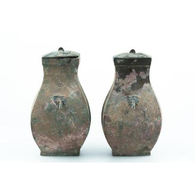 Pair Of Bronze Han Vase - China 2nd Century Acn - 2nd Century Pcn