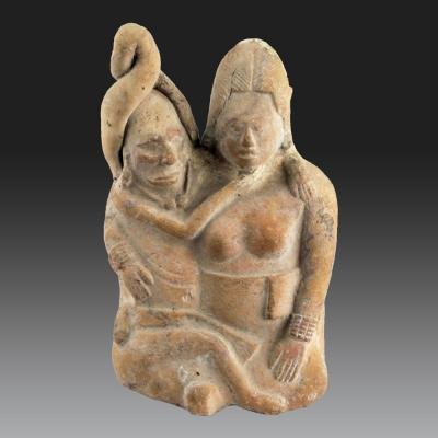 Two Seated Individuals, Mexico, Jaina Island, Maya (recent Classic, 600-900 Pcn)