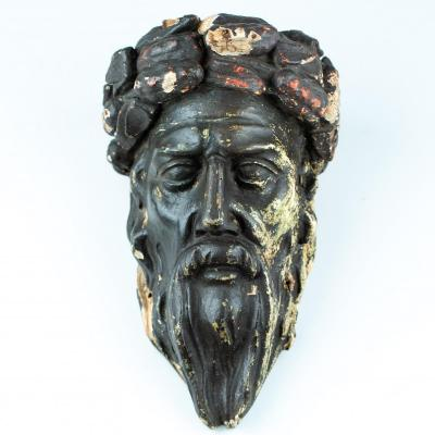 Masculine Head Carved And Crowned - Neoclassical, Late 18th Early 19th