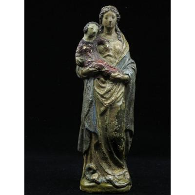 Virgin And Child In Terra Cotta Polychrome (signed I M) - 17th Century