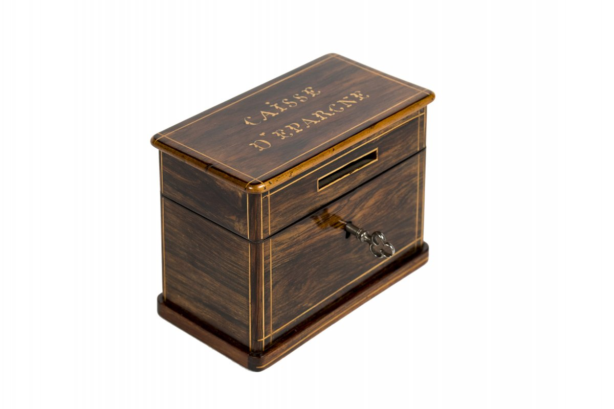 0004/1001 Tirelire/ Caisse d'Epargne En Palissandre Et Citronnier