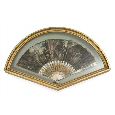 0051 / Engraved Bone Country Decor Fan
