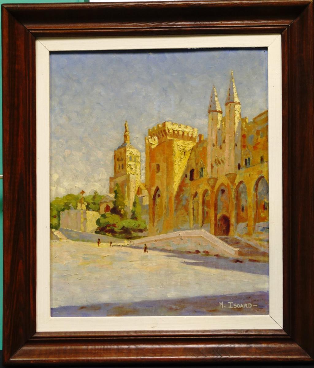Huile Sur Panneau Par M Isoard Le Palais Des Papes à Avignon