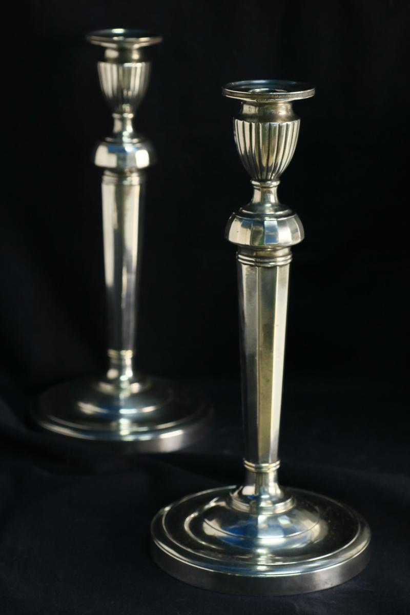 Pair Of Candelsticks Bronze Silver Empire Era