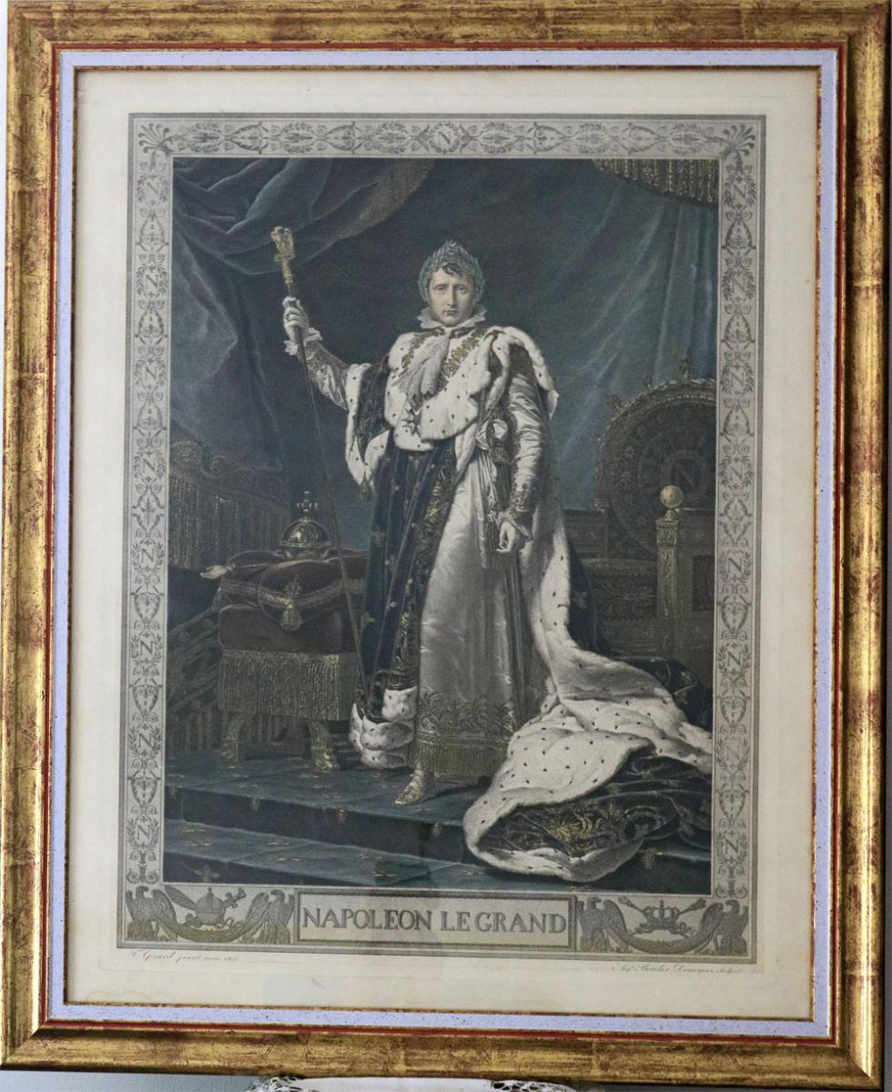Napoleon 1st Lithography In Habit Of Coronation