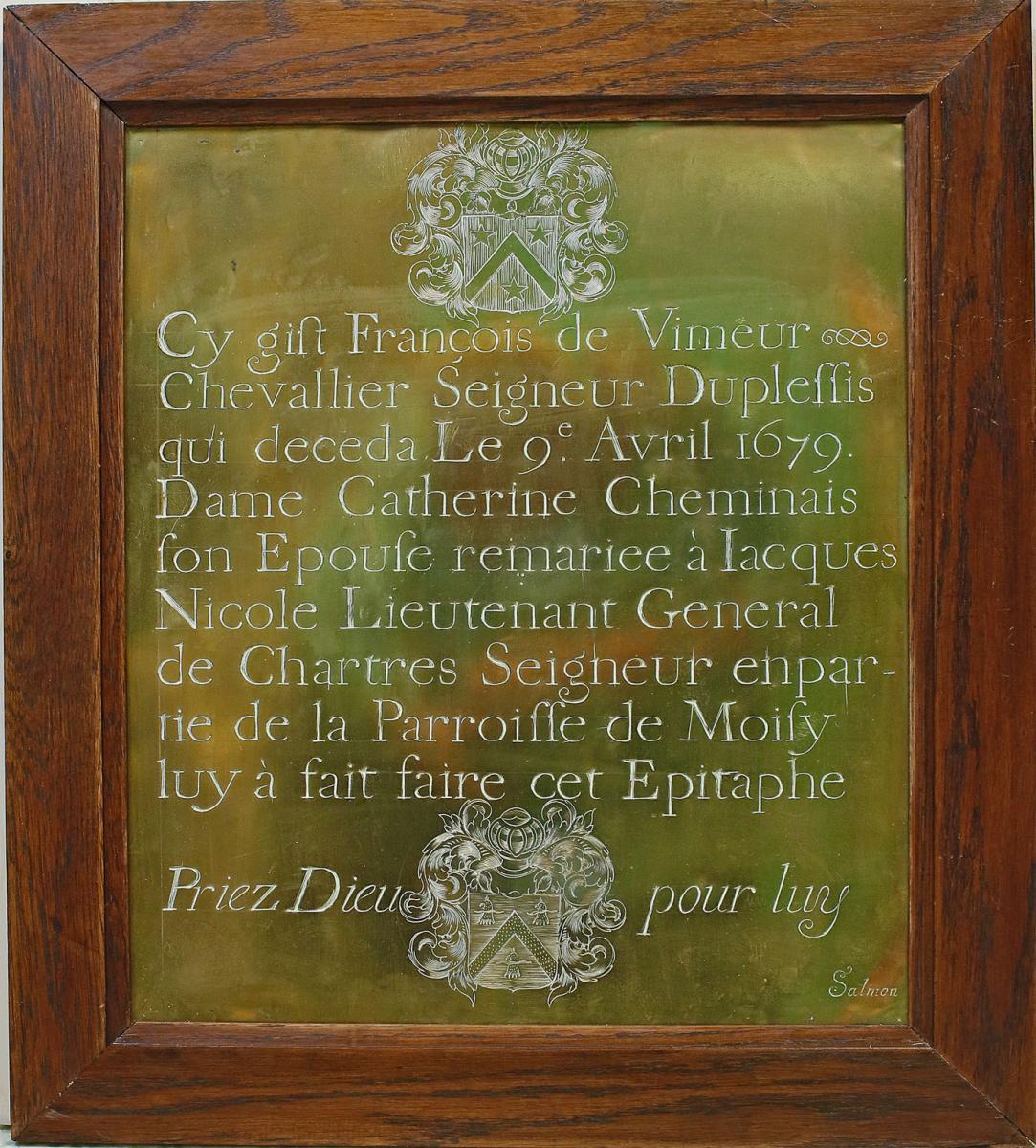 Epitaphe de François de Vimeur En Laiton Gravé 17 ème