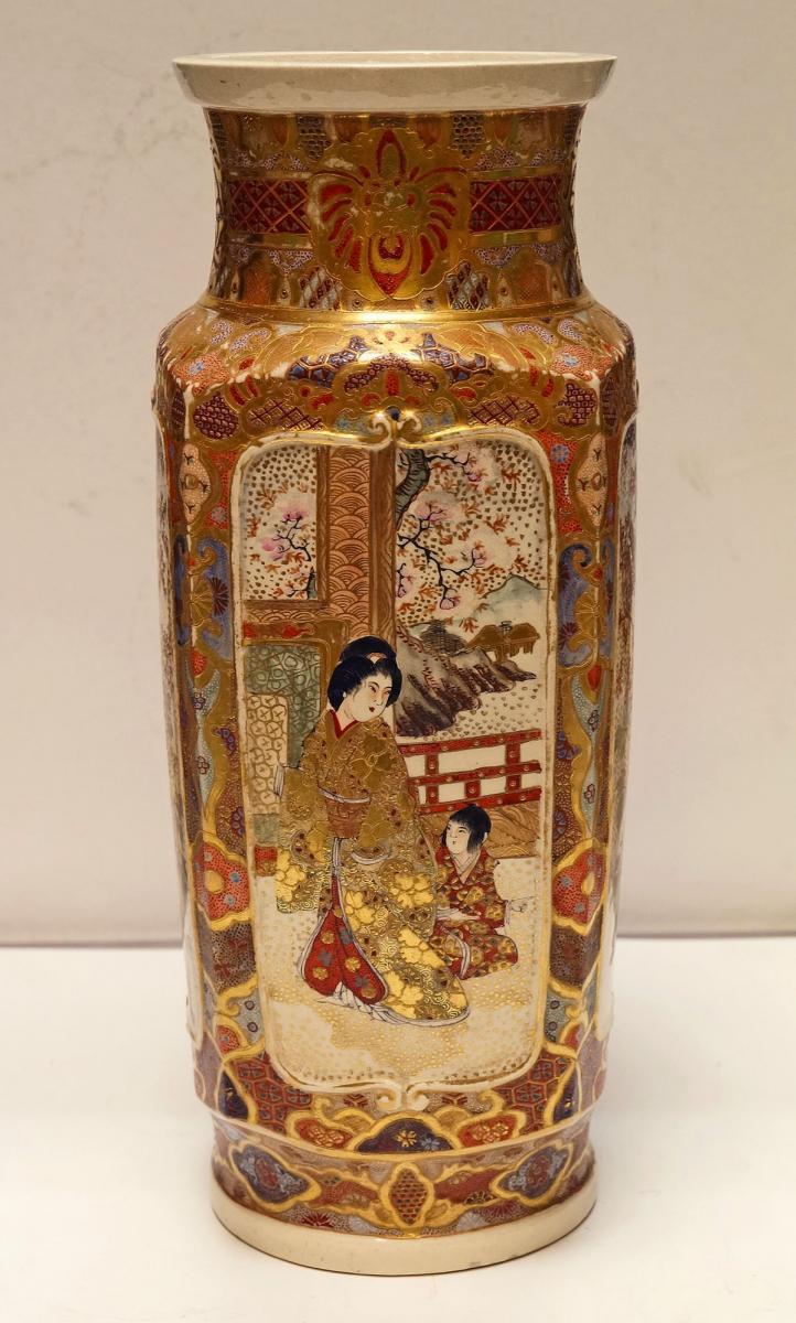 Large Porcelain Vase From Satsuma Japan Late 19th