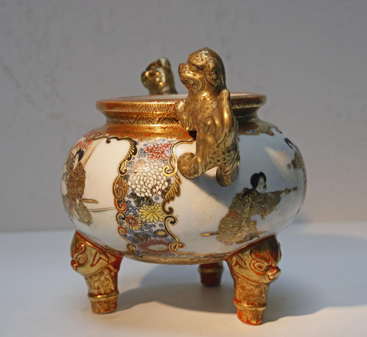Kutani Japan Porcelain Tripod Vase Late 19th-photo-2