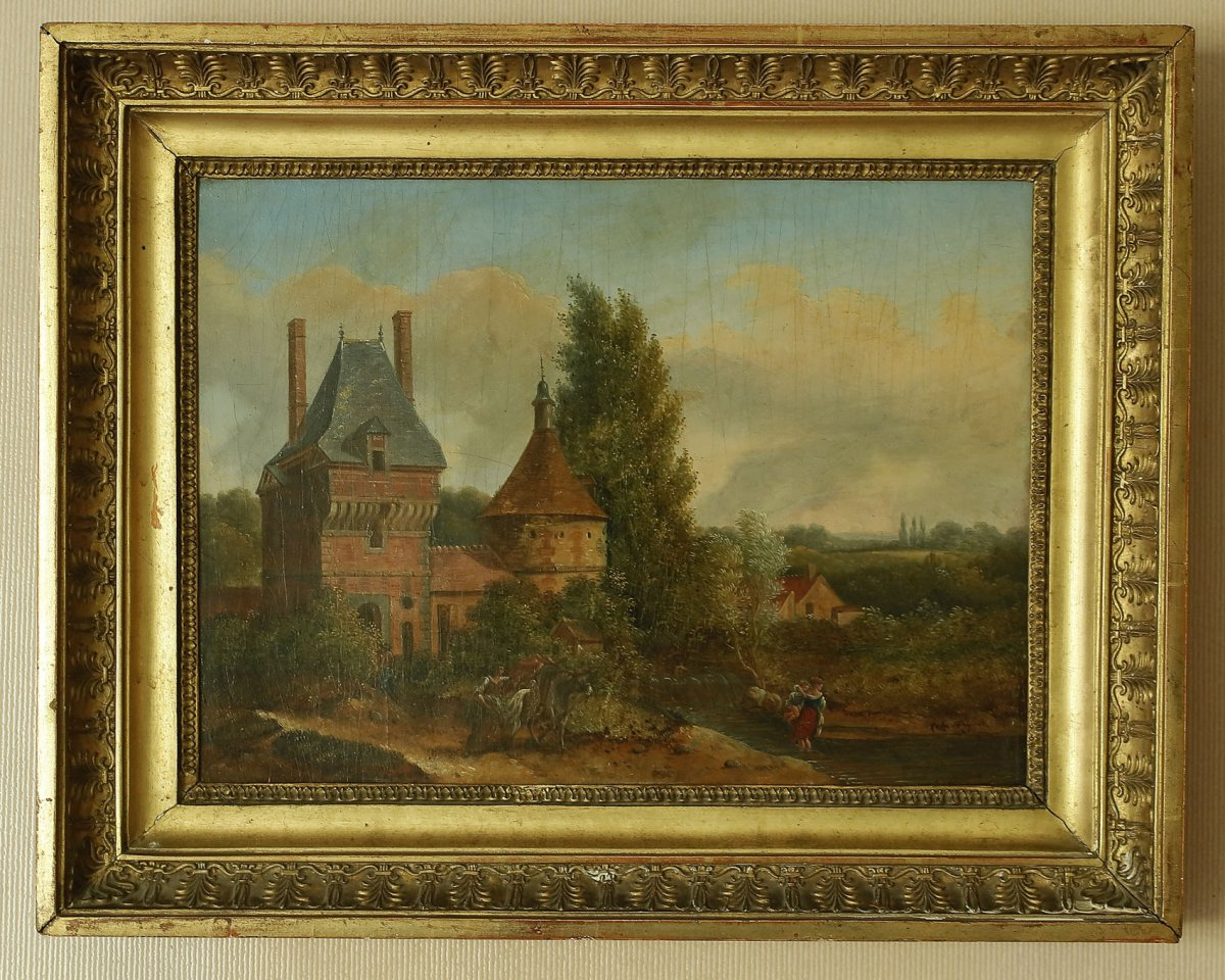 Animated Landscape In The Castle Oil On Panel End 18th Early 19th