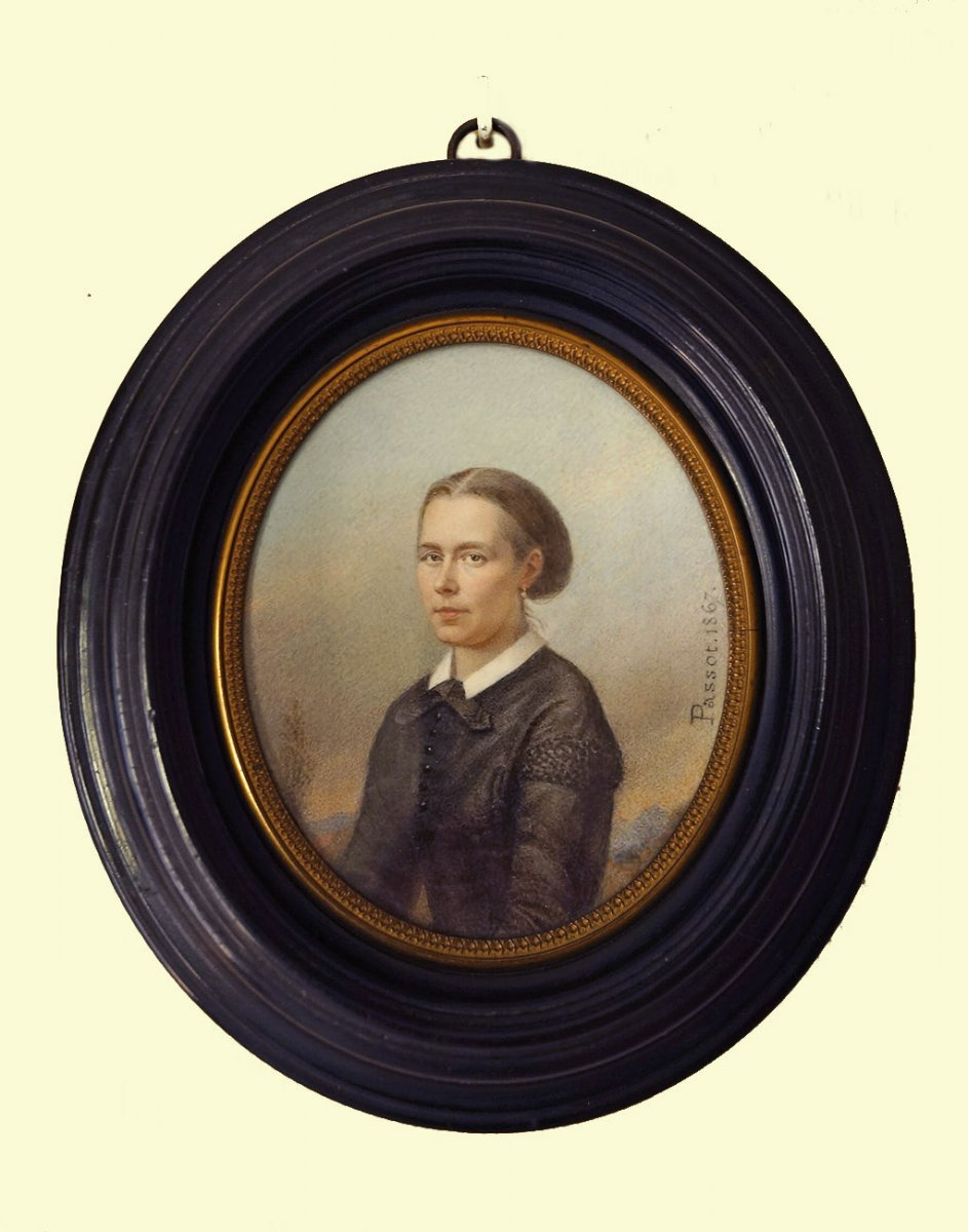 Miniature Portrait Of A Lady Of Quality By Passot 1867