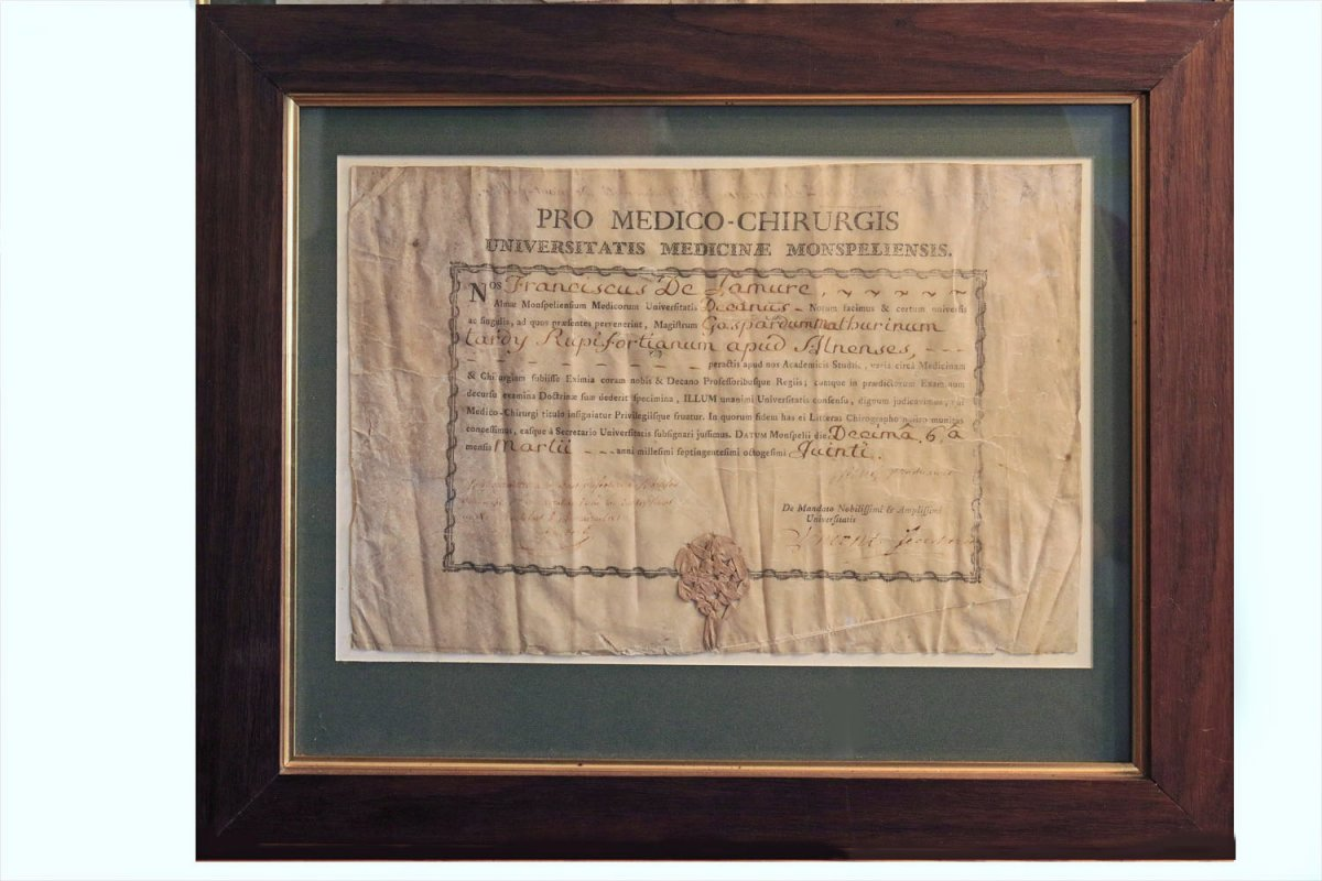 Bachelor's Degree In Medicine From The University Of Montpellier 1785