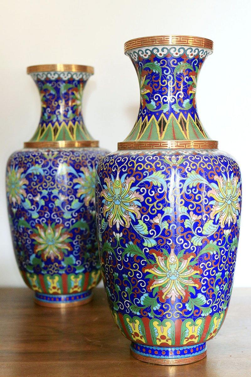 Paire De Vases En Cloisonné Chine Fin 19ème-photo-2
