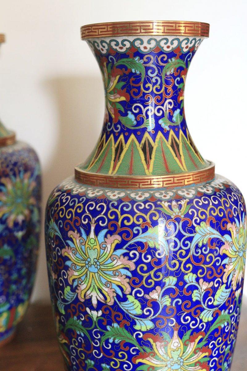 Paire De Vases En Cloisonné Chine Fin 19ème-photo-3