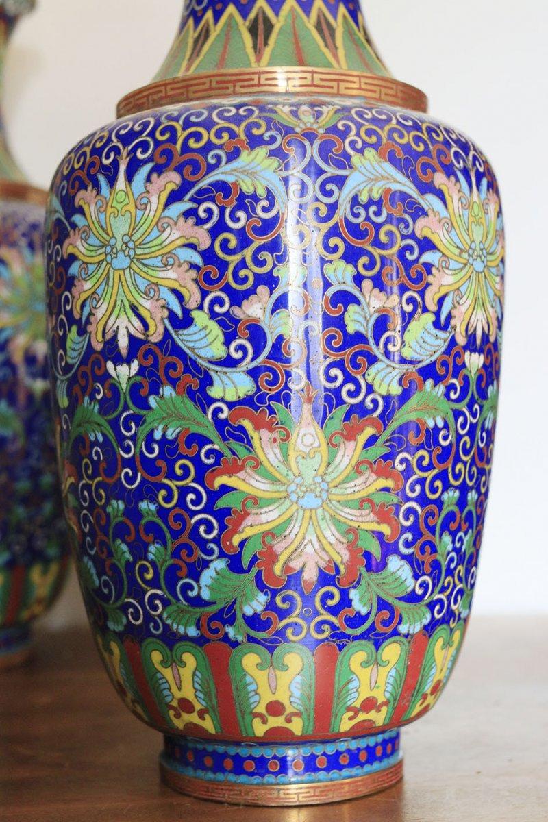 Paire De Vases En Cloisonné Chine Fin 19ème-photo-4