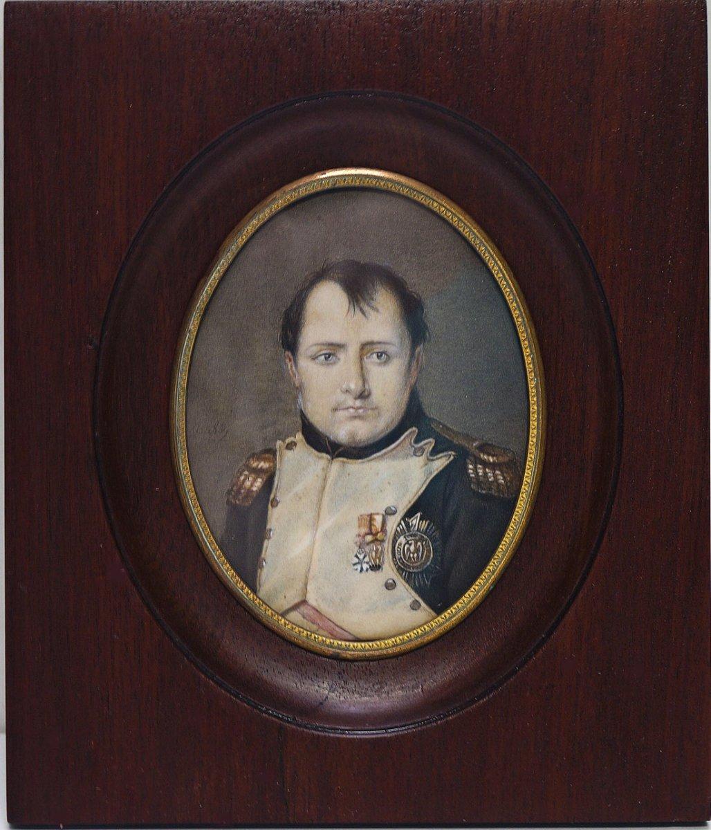 Miniature Drawing Enhanced Portrait Of Napoleon 1st Signed Isabey
