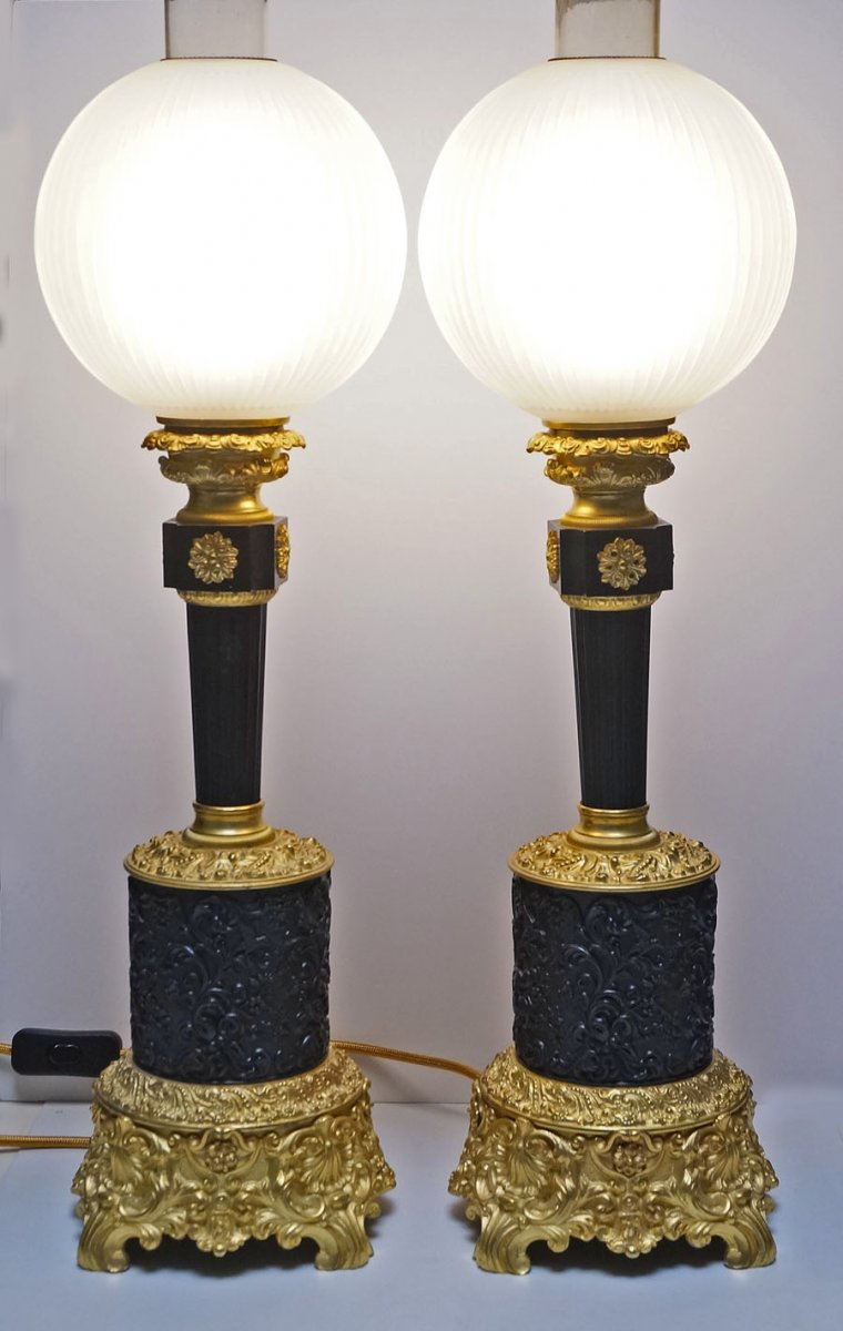 Pair Of Gilt Bronze Patina Lamps With Their Globes Middle 19th