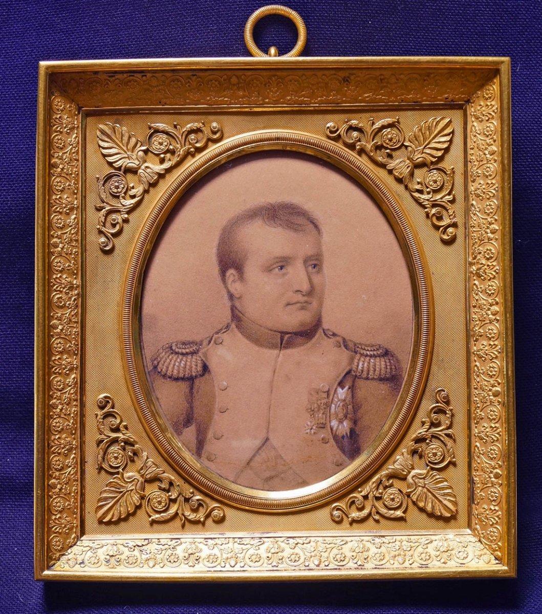 Drawing Enhanced Portrait Of Napoleon 1st Signed Bordes