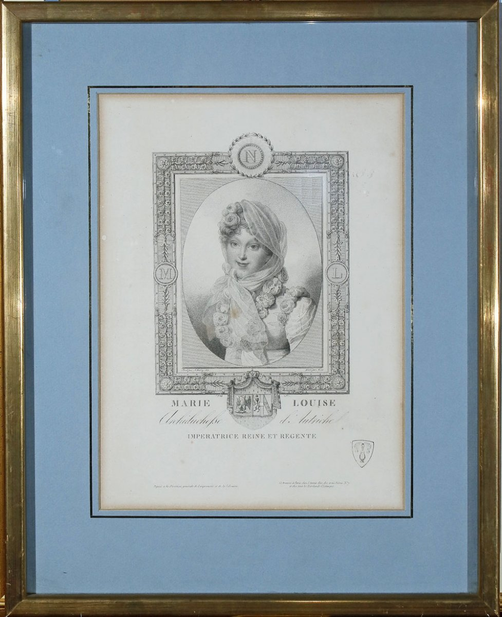 Lithography Portrait Of Empress Marie Louise 19th