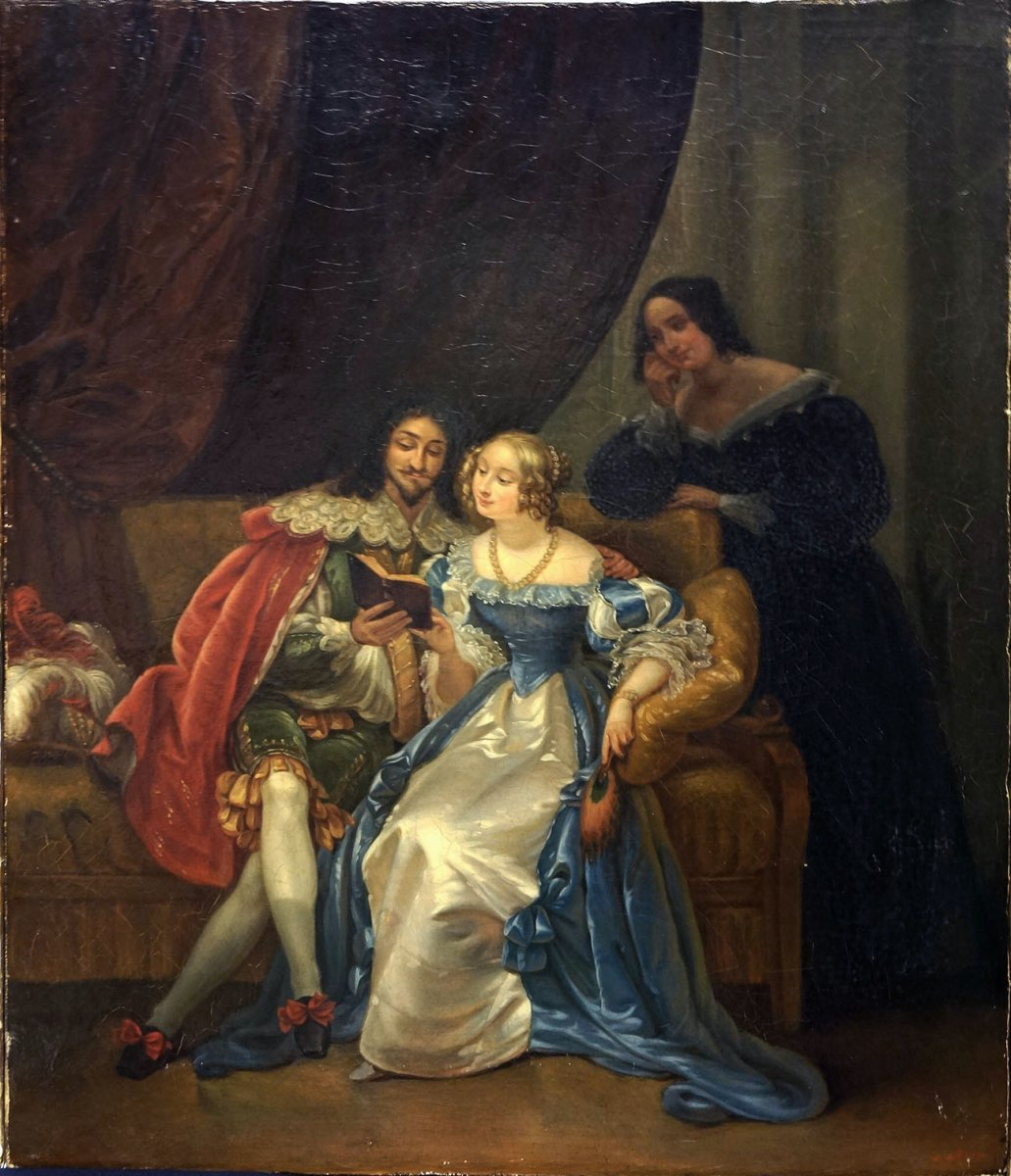 Oil On Canvas Louis Xlll At Madame De La Fayette