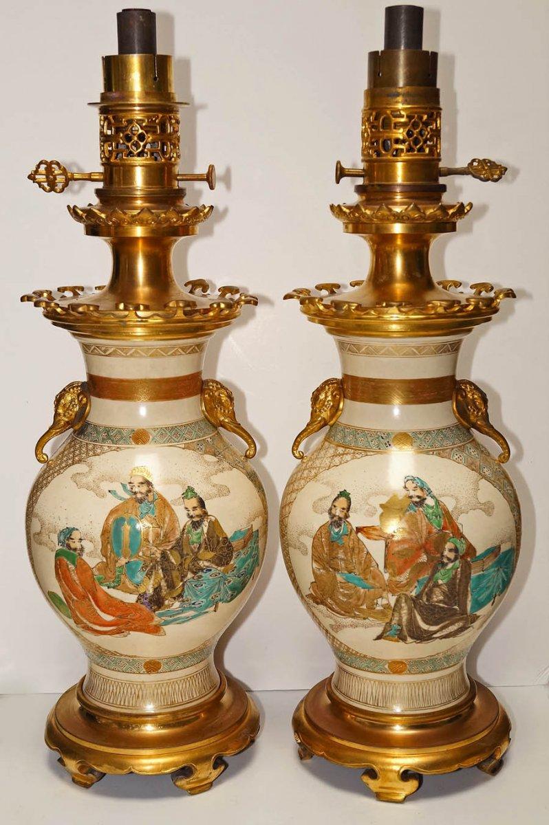 Pair Of Moderator Oil Lamps Circa 1860-1880