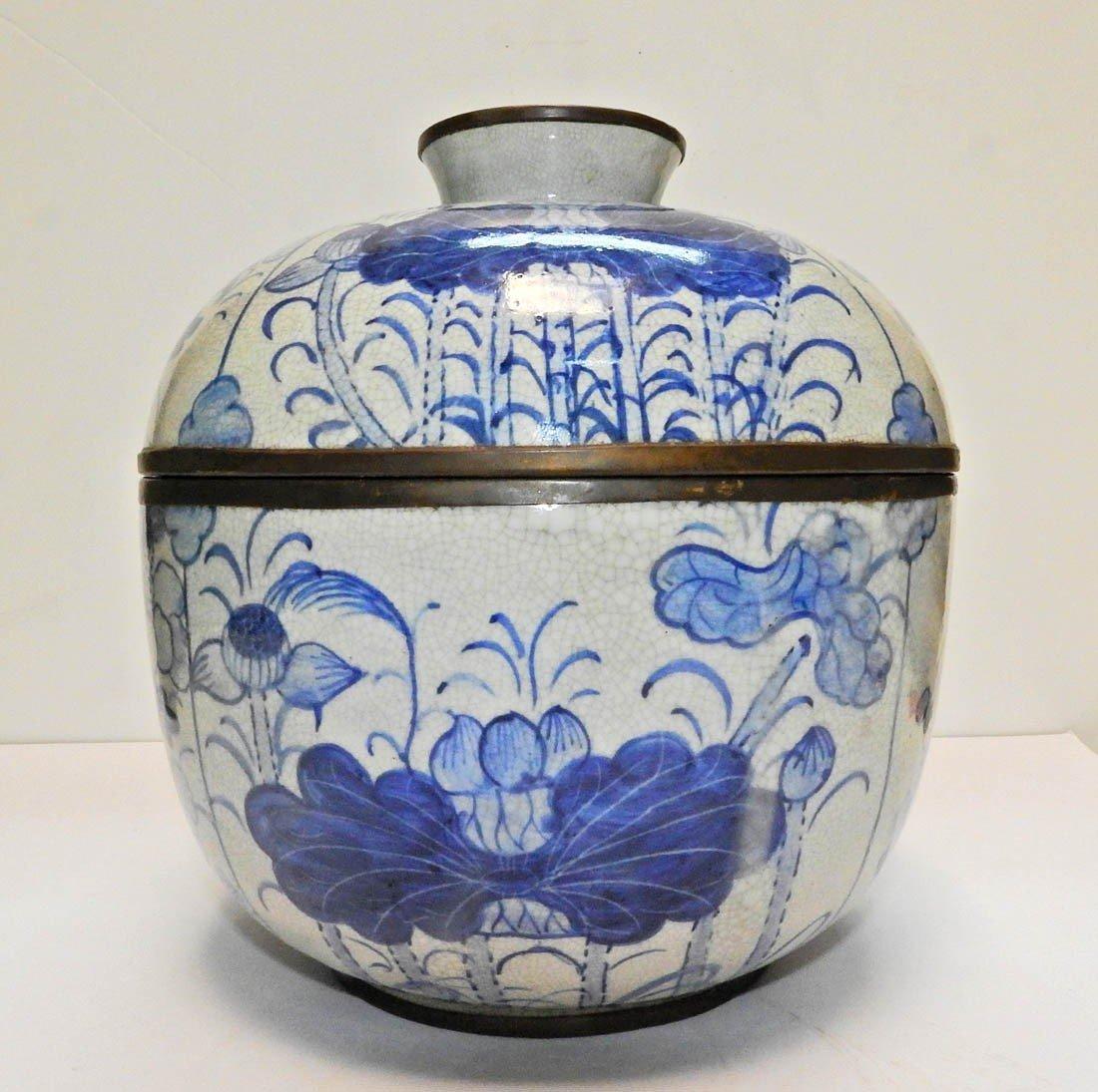 Pot Couvert En Porcelaine Chinoise Marque Ming-photo-1