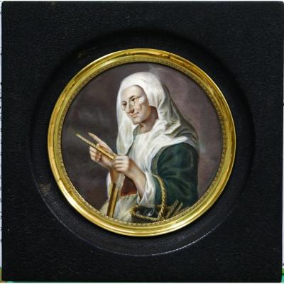 Great Miniature On Ivory By Ernest Michel 1833-1902