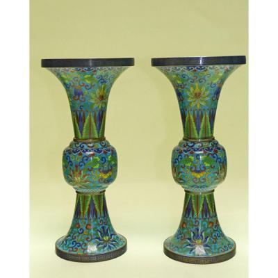 Vases Pair Of Cloisonne Enamel Gu 19th China