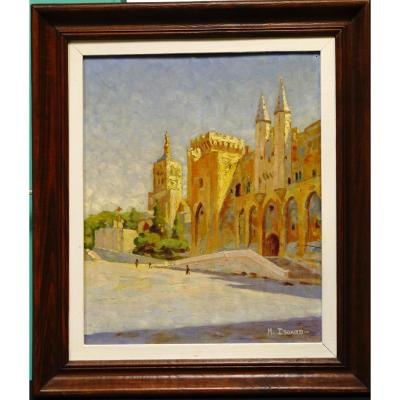 Oil On Panel By M Isoard Palais Des Papes In Avignon