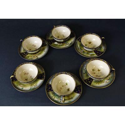 6 Tasses Et Sous Tasses à Thé Satsuma Signées Kinkozan