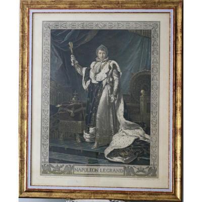 Lithographie couleur Napoléon1er En grand costume Du sacre