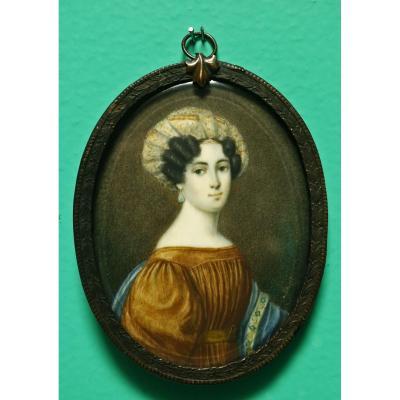 Miniature Portrait De Dame Au Turban Heigel