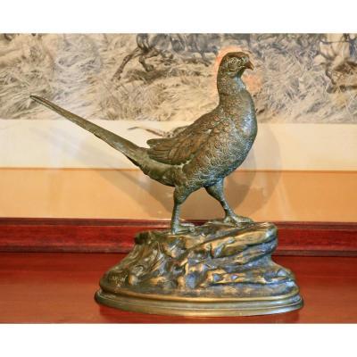 Faisan En Bronze Signé Carvin 19-20 ème