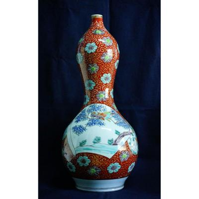 Grand Vase Double Gourde Porcelaine d'Arita Japon Vers 1850