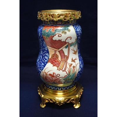 Vase En Porcelaine De Fukagawa Japon Monture Bronze Doré