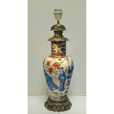Large Vase Porcelain Bayeux Mounted Lamp In 19th Milieu