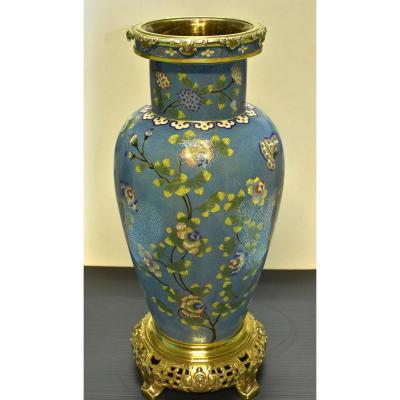 Large Cloisonne Chinese Vase And Bronze Frame Late 19th