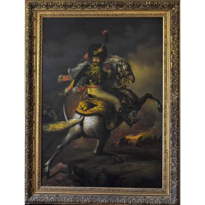 Chasseur à Cheval d'Après Théodore Géricault Huile Sur Toile 20 ème