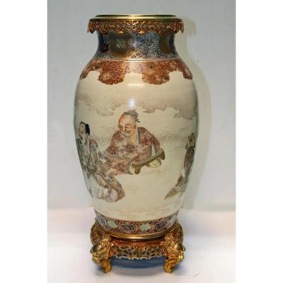 Japan Porcelain Vase Satsuma Gilt Bronze Mount