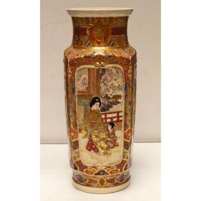 Large Porcelain Vase From Satsuma Japan Late 19th
