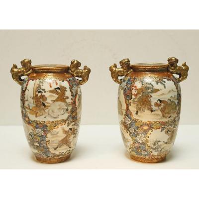 Pair Of Porcelain Vases Kutani Japan Late 19th