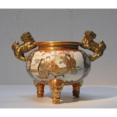 Kutani Japan Porcelain Tripod Vase Late 19th