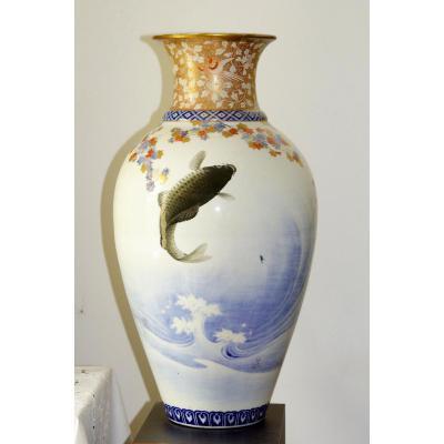Grand Vase En Porcelaine De Fukagawa Japon époque Meiji(1868-1912).